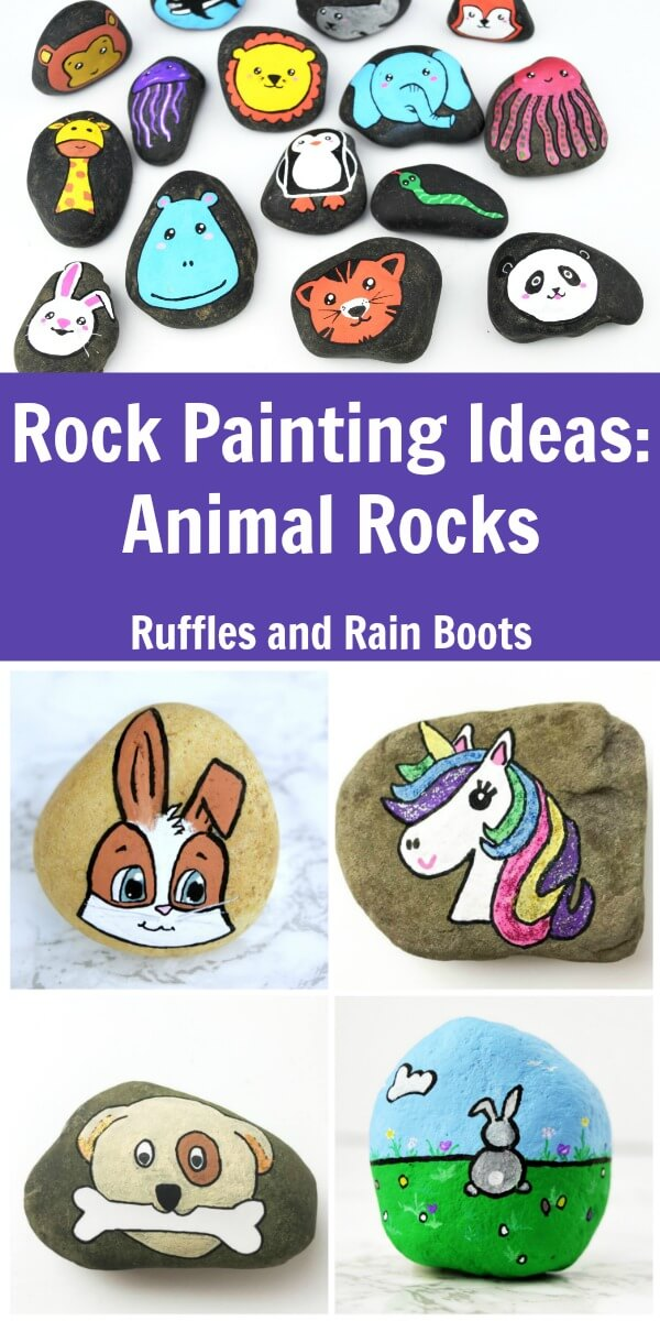 These fun and playful animal rock painting ideas are sure to inspire. From painted pebbles to rock art, check out these fun animal rocks. #rockpainting #paintedstone #paintedpebbles #rockart #painting #animalart #rufflesandrainboots