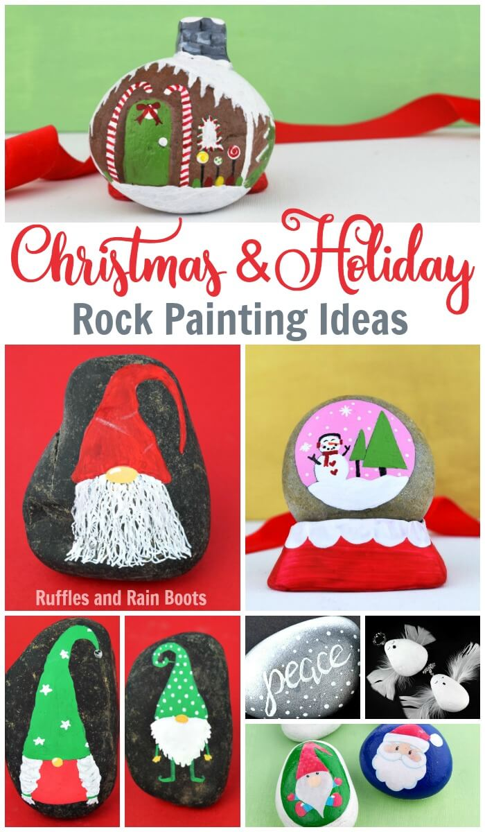 These Christmas rock painting ideas will have you ringing in the holiday season with fun and festive designs. #rockpainting #christmas #christmasrocks #rockart #paintedpebbles #paintedstones #kindnessrocks #paintandhiderocks #rufflesandrainboots