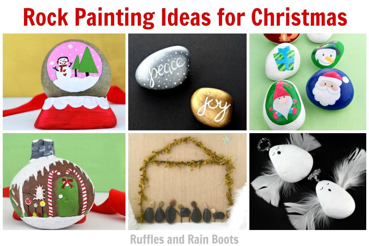 rock painting ideas for christmas