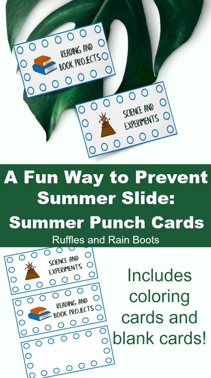 Learn how to prevent summer slide using these free printable summer punch cards for kids. Reward them! #positivereinforcement #positivediscipline #rewardcards #punchcards #summerslide #summer #rufflesandrainboots