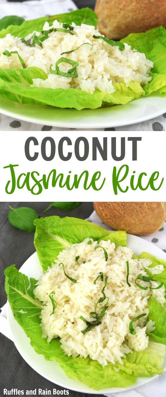 Make this coconut rice recipe in just minutes! It comes together fast for a weeknight dish and kids LOVE it! #coconutrecipes #ricerecipes #coconutrice #dinner #sidedishes #meatlessmonday #weeknightrecipes #quickmeals #rufflesandrainboots