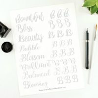 Letter B Modern Calligraphy Practice Sheets