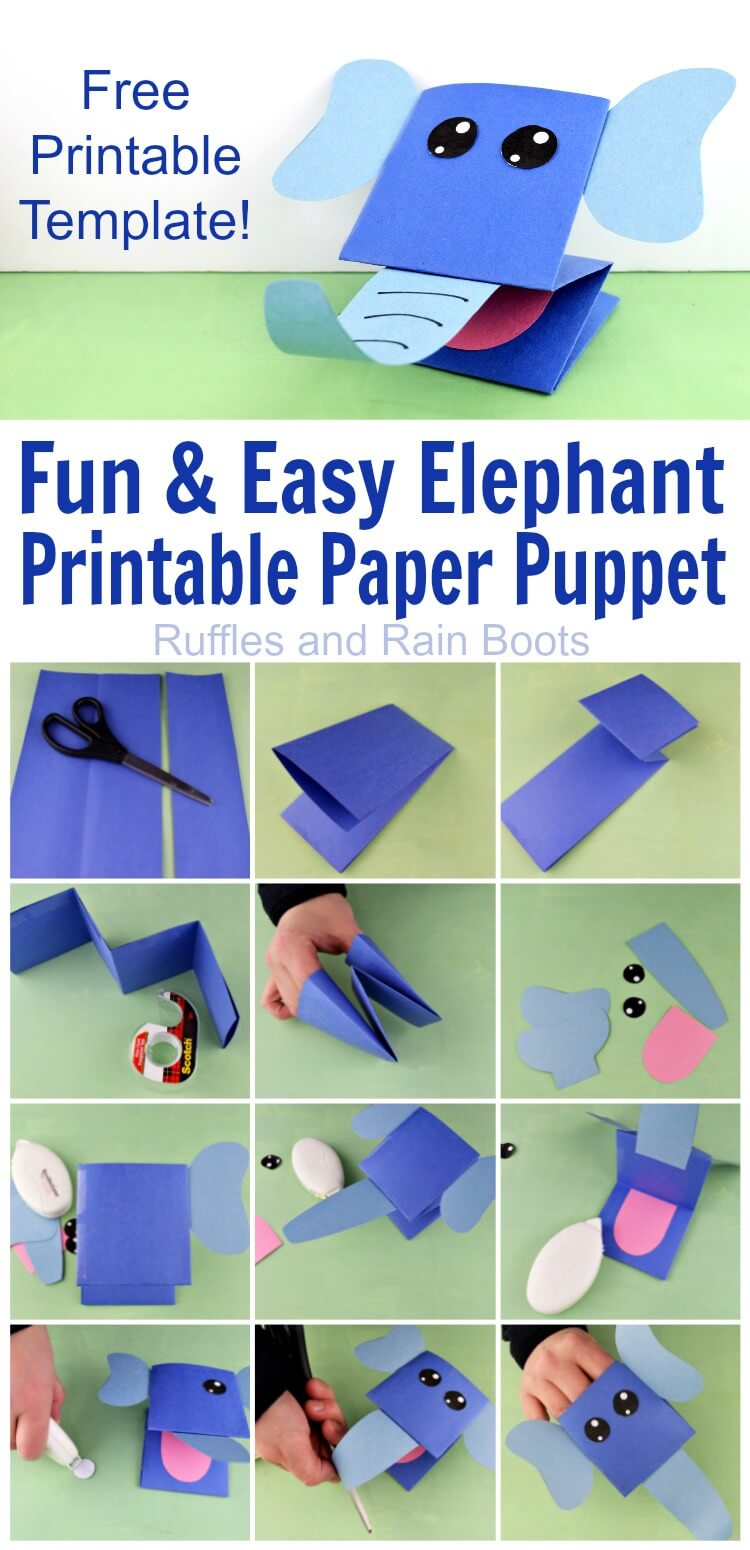 Make this easy printable elephant paper puppet in no time! Young kids can fold, glue, and craft their way to a puppet jungle. #paperpuppets #elephantpuppet #puppetsforkids #printable #printablepuppet #elephant #easycraftsforkids #rufflesandrainboots