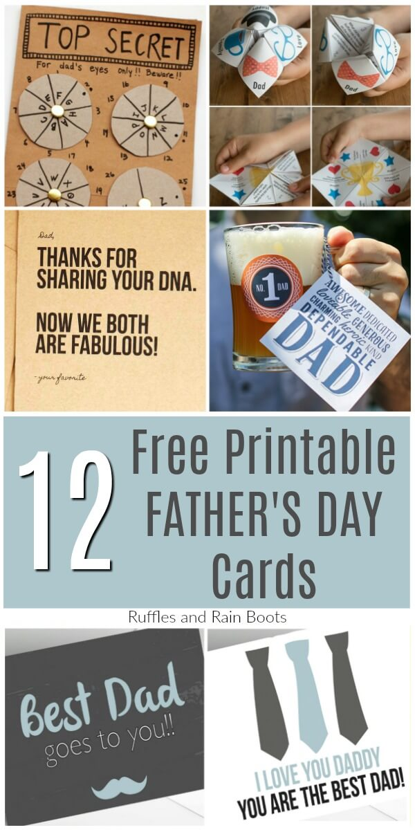 Download one of these free printable Father's Day cards. From adorable and keepsake styles to classic and funny, these printable cards are sure to please. #fathersday #printable #freeprintable #printablecard #cardsforDad #rufflesandrainboots