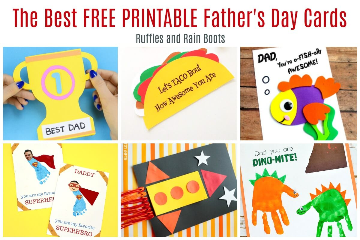 These are the best free printable Father's Day cards - young kids or older children