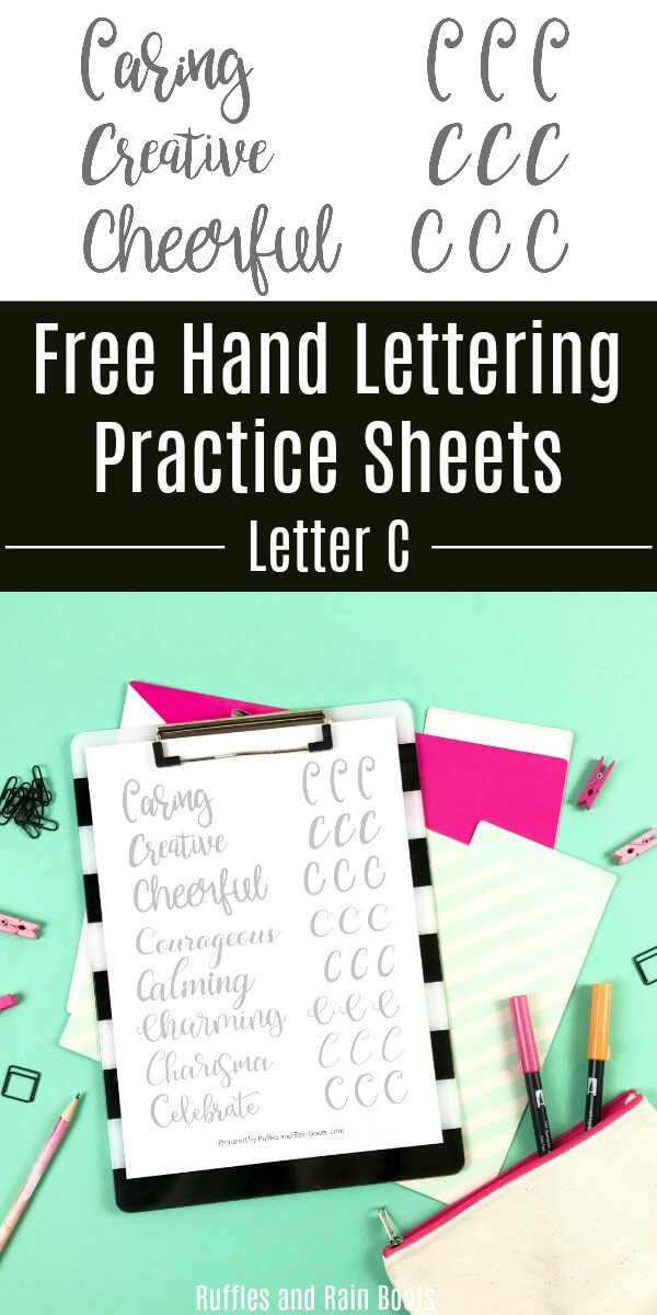 Grab these free letter C brush lettering practice sheets and work on 8 styles. Uppercase letters can trip hand letterers up sometimes, so let's practice together. #handlettering #brushlettering #bouncelettering #lettering #creativelettering #letteringart #rufflesandrainboots