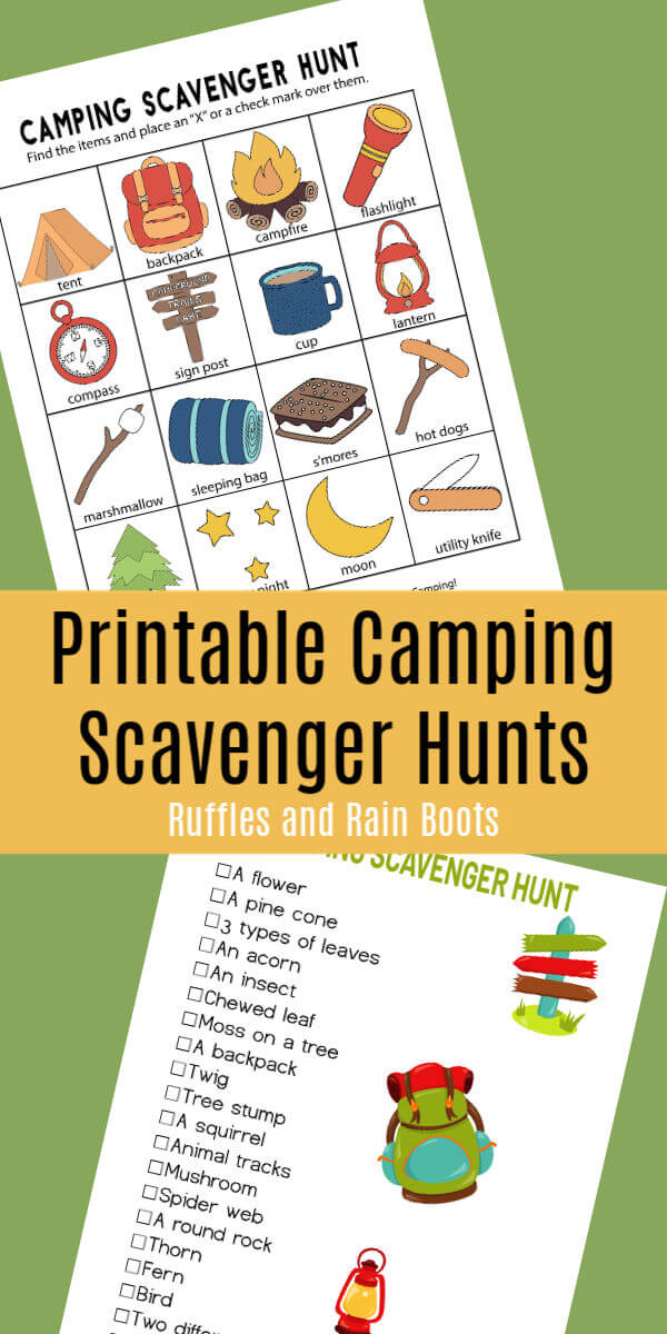 Get these free camping scavenger hunts for preschoolers, early readers, and older kids. #camping #scavengerhunt #scavengerhuntclues #hiking #outdoors #preschooler #earlyreader #campingfun #rufflesandrainboots