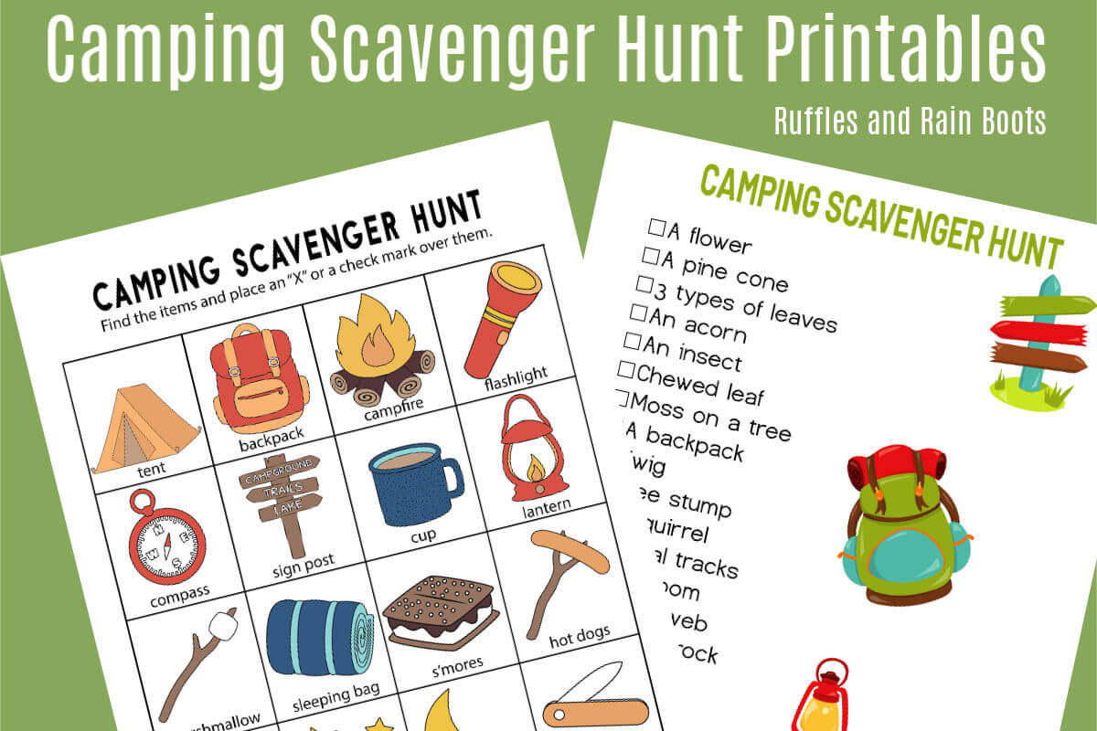 image relating to Printable Scavenger Hunt for Kids named Tenting Scavenger Hunt - Printables for 2 Age Categories!