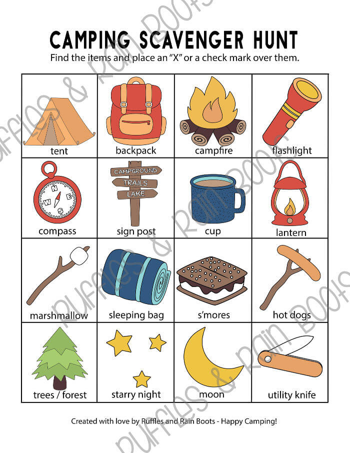 Scavenger Hunt for camping - Preschooler