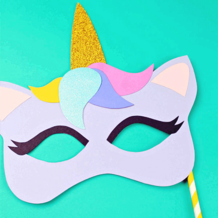 Printable Unicorn Mask - Coloring Page and Template
