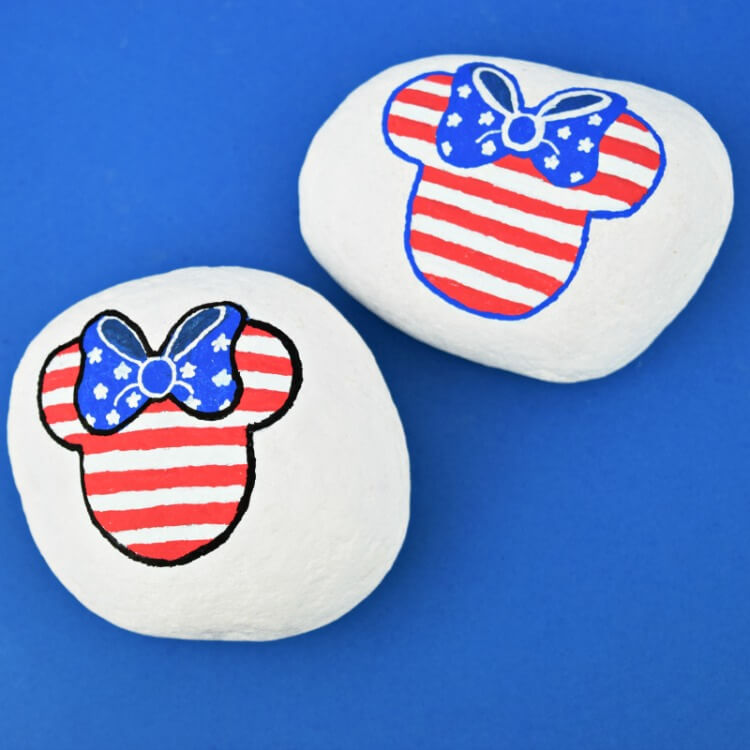 4th of July Patriotic Minnie Mouse Rock Painting Idea