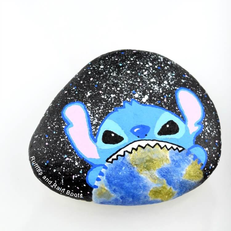 Disney Rock Painting: Stitch from Lilo and Stitch