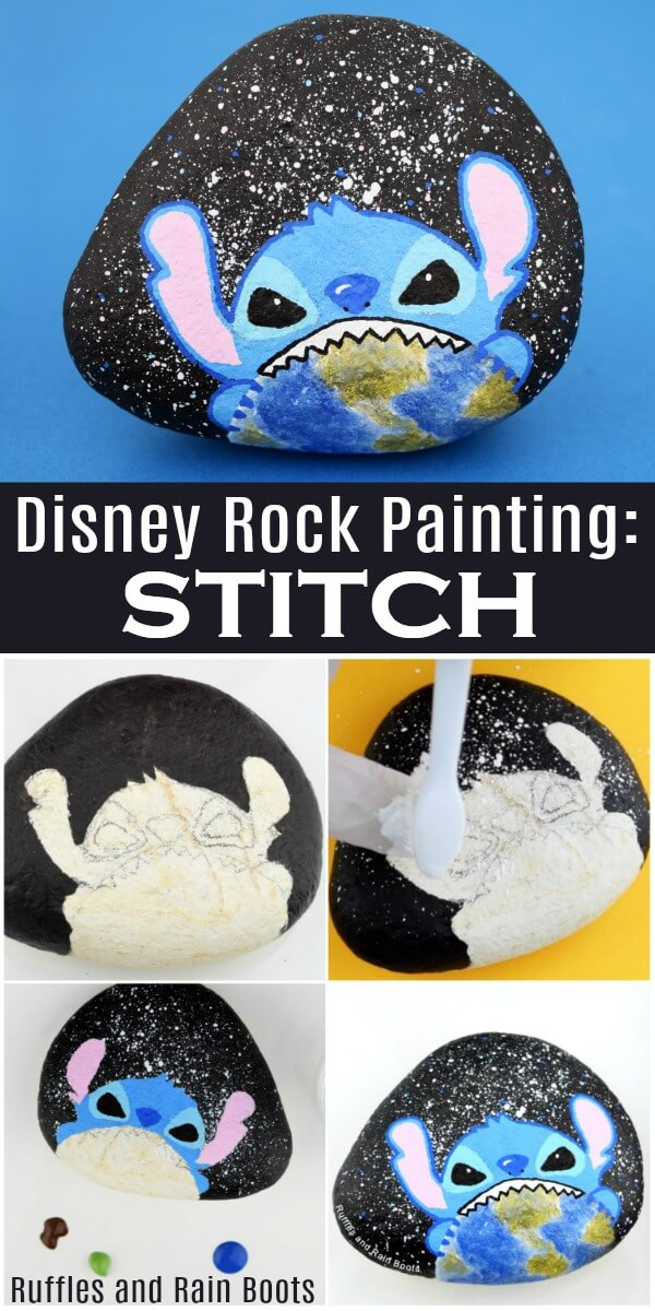 Learn how to paint a Disney rock painting idea featuring Stitch from Lilo and Stitch! #rockpainting #rockpainting101 #paintedpebbles #paintedstones #stonepainting #rockart #disney #liloandstitch #stitch #rufflesandrainboots