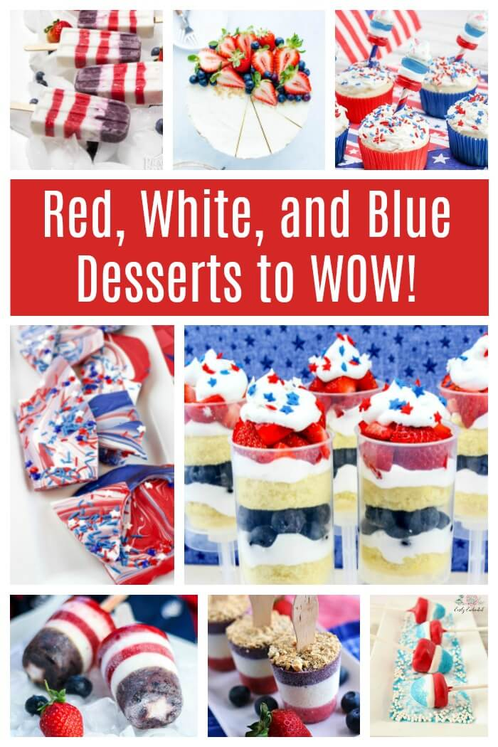 These 4th of July desserts will WOW everyone. From cakes and cupcakes to pops and bark, this is the best list of Independence day food you will LOVE to make. #4thofJuly #July4th #IndependenceDay #holidayfood #redwhiteandblue #rufflesandrainboots