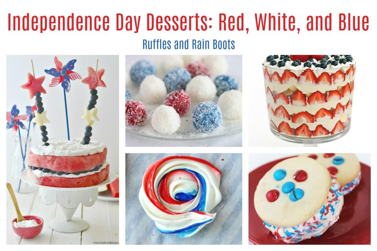 Independence Day food desserts treats cakes cupcakes bark candy meringue red white and blue