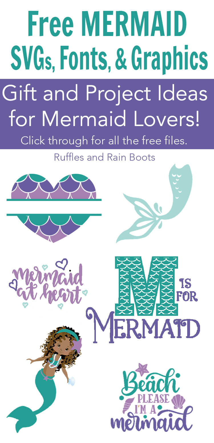 Free mermaid SVG files, graphics, and fonts for Cricut, Silhouette, digital crafts, cards, and more. #freeSVG #mermaid #mermaidlovers #mermaidcrafts #DIYmermaid #Cricut #Silhouette #rufflesandrainboots