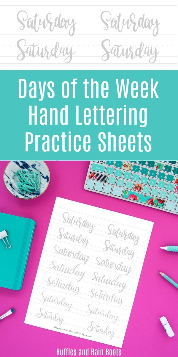 Print off these free days of the week hand lettering practice sheets. In 8 lettering styles including brush lettering, bounce lettering, and modern calligraphy, you can improve your lettering! #handlettering #freepracticesheets #freelettering #letteringart #daysoftheweek #moderncalligraphy #rufflesandrainboots