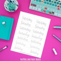 Days of the Week Hand Lettering Practice Sheets