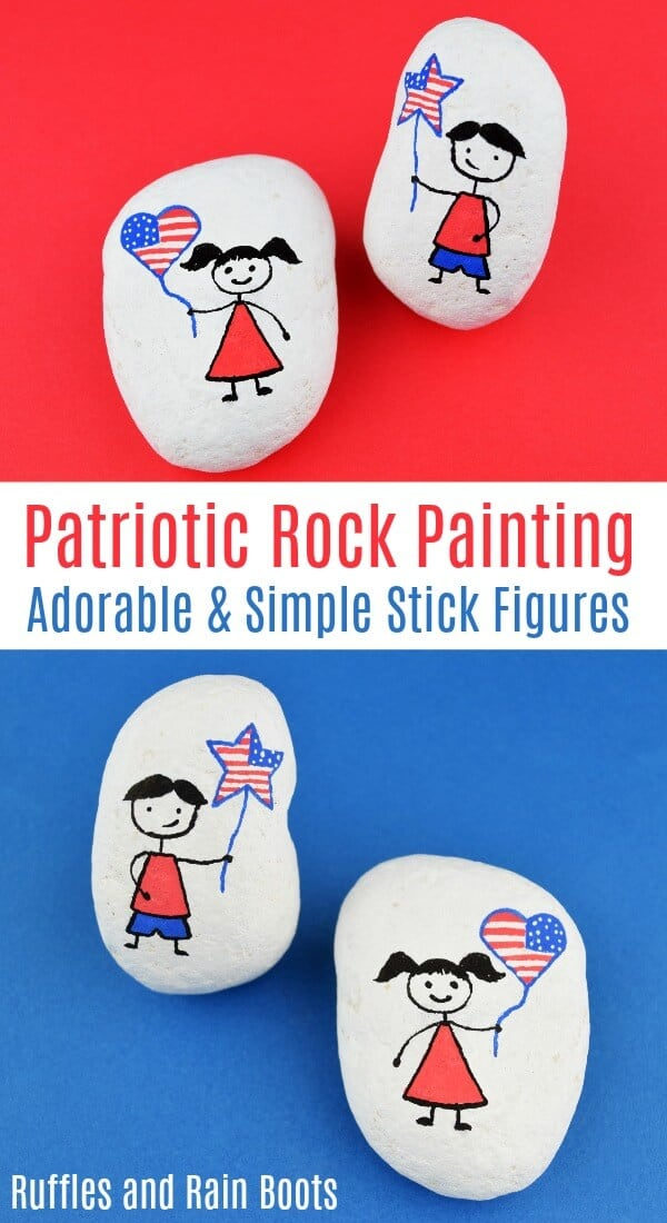 Paint this patriotic stick figure rock set quickly. It is made with simple shapes and comes together fast. #rockpainting #rockpainting101 #paintedstones #paintedpebbles #rockart #iloverocks #kindnessrocks #hiderocks #rufflesandrainboots
