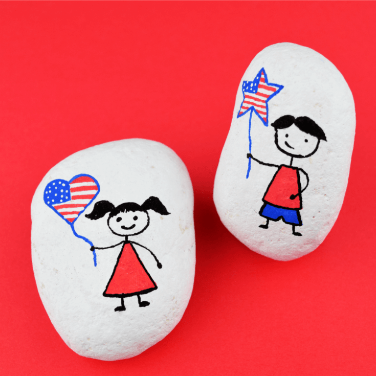 Patriotic Stick Figure Rock Painting for Independence Day