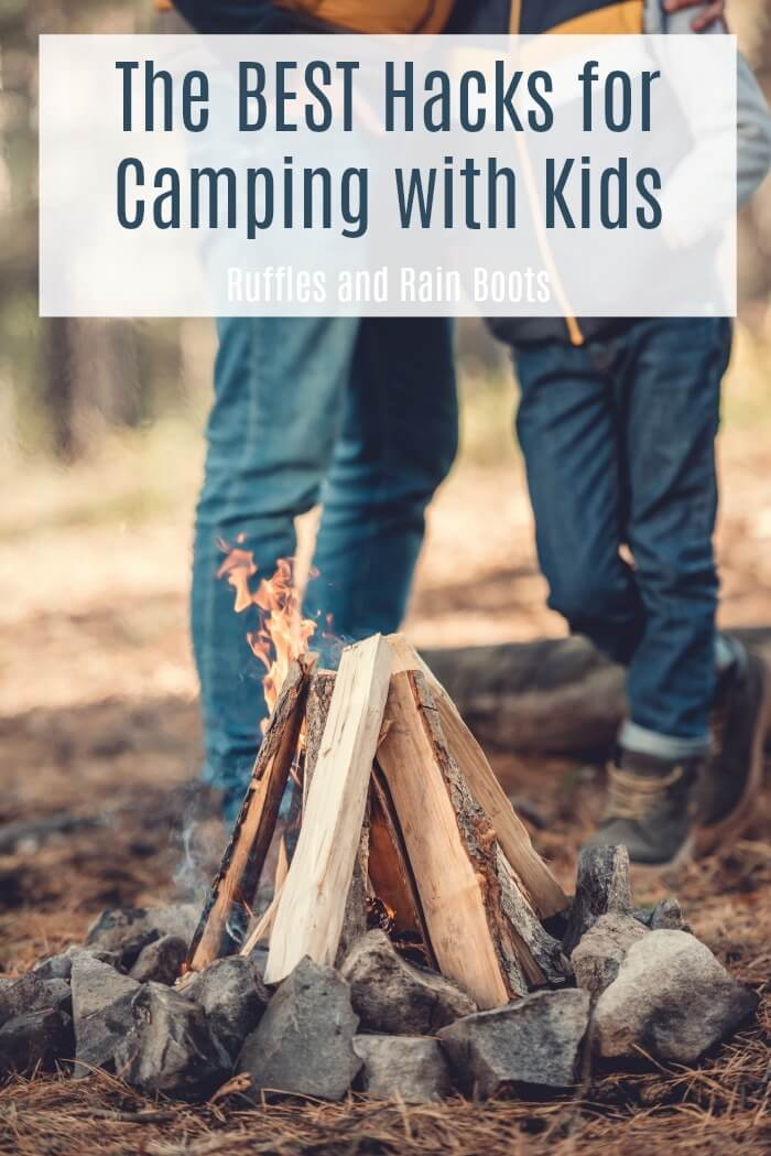 These are the best (genius) camping hacks for camping with kids. Everything gets cluttered and these tips will have your campsite clean and organized. #camping #campingwithkids #summer #vacations #summerfun #campinghacks #rufflesandrainboots