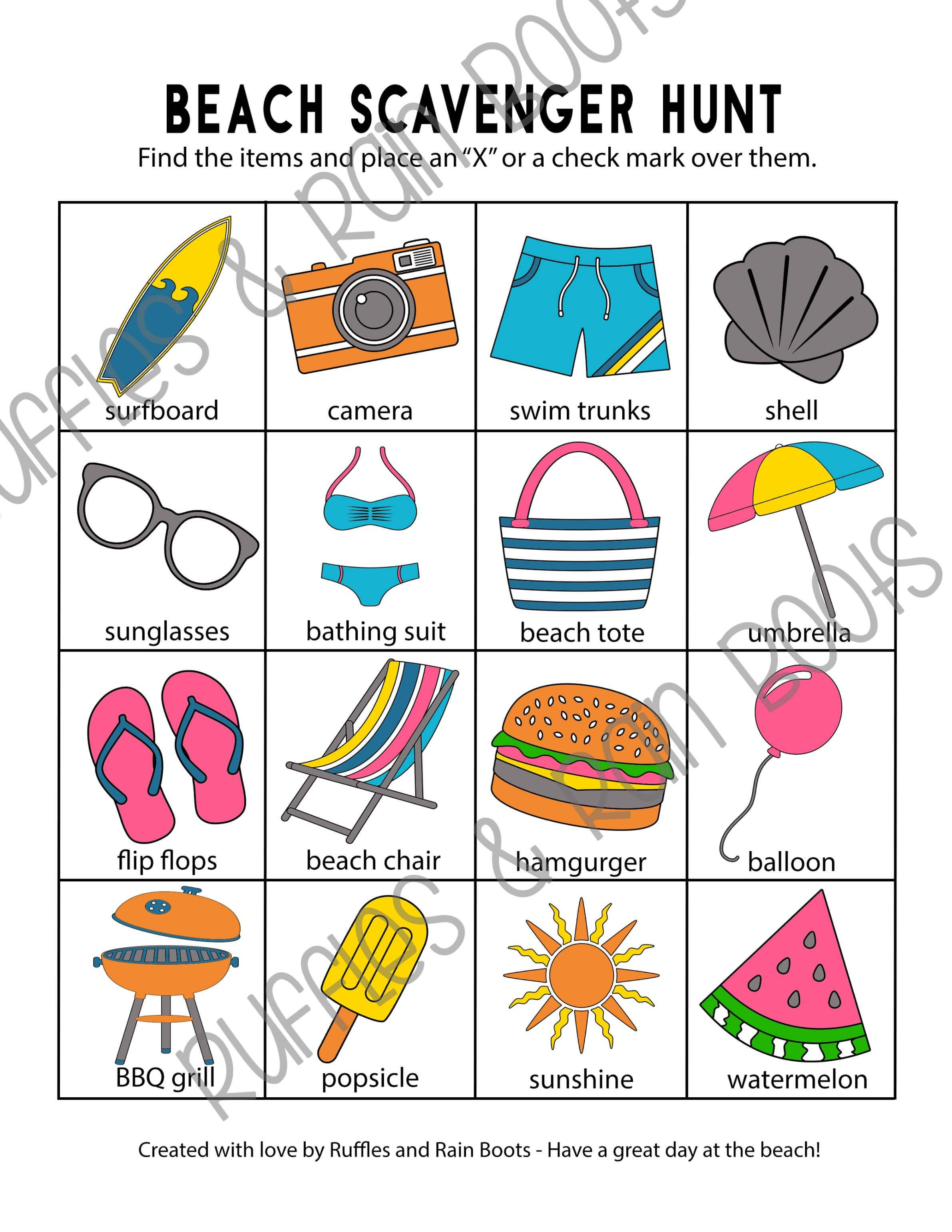 beach scavenger hunt for preschoolers and early readers