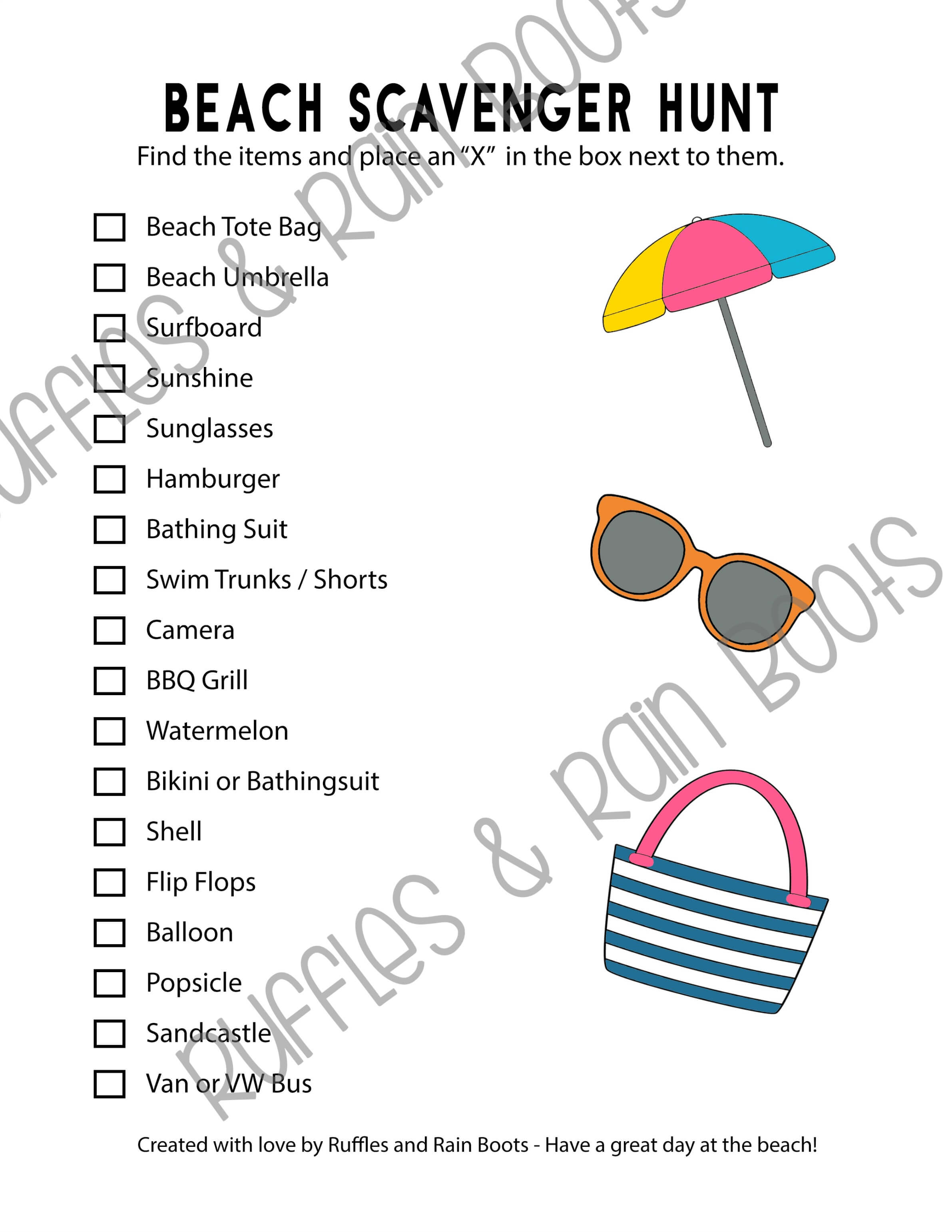 image about Beach Printable titled Seashore Scavenger Hunt - Printables for 2 Age Categories!