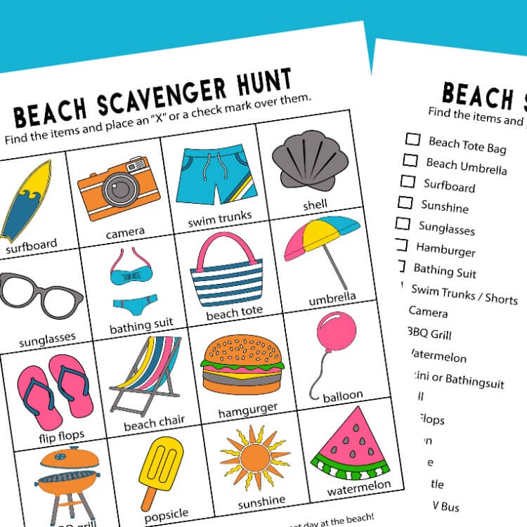image relating to Printable Beach Pictures referred to as Seashore Scavenger Hunt - Printables for 2 Age Classes!