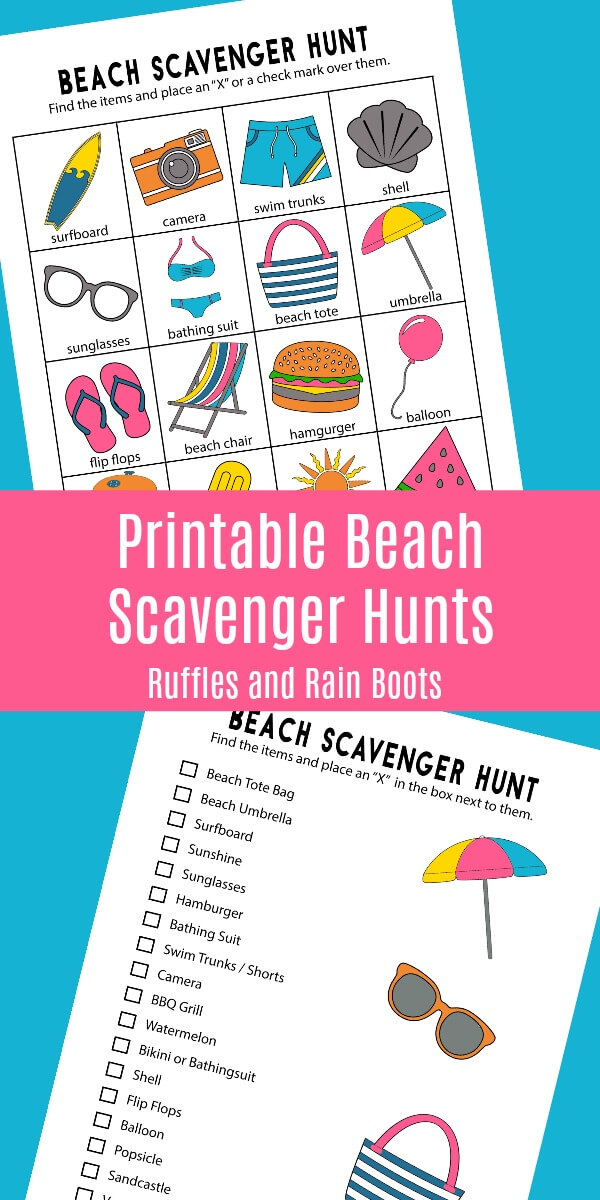 Print Off These Fun Beach Scavenger Hunts For Your Next Trip The Set Includes 2