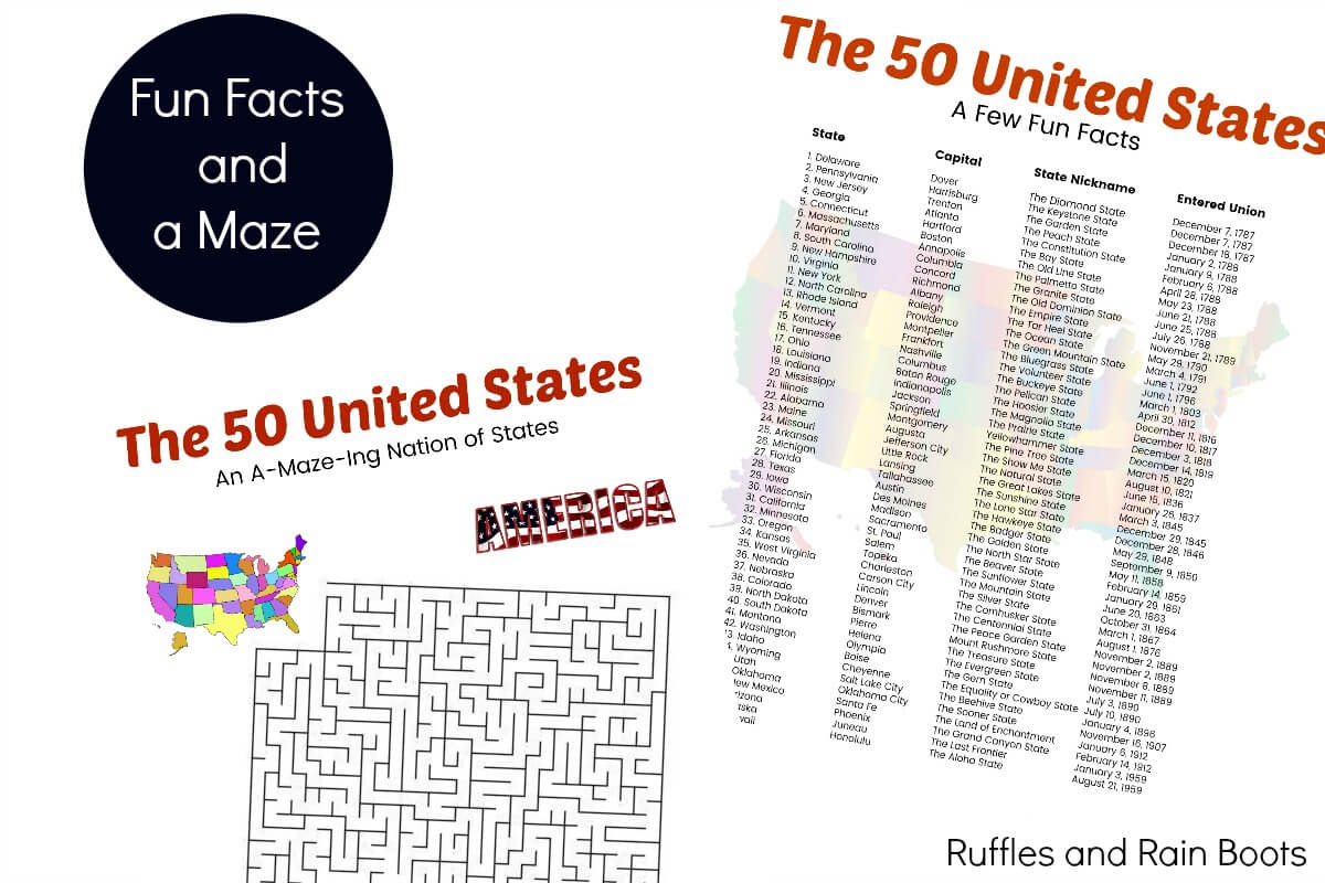 US state fun facts State Trivia Fun state trivia printable game for kids road trip