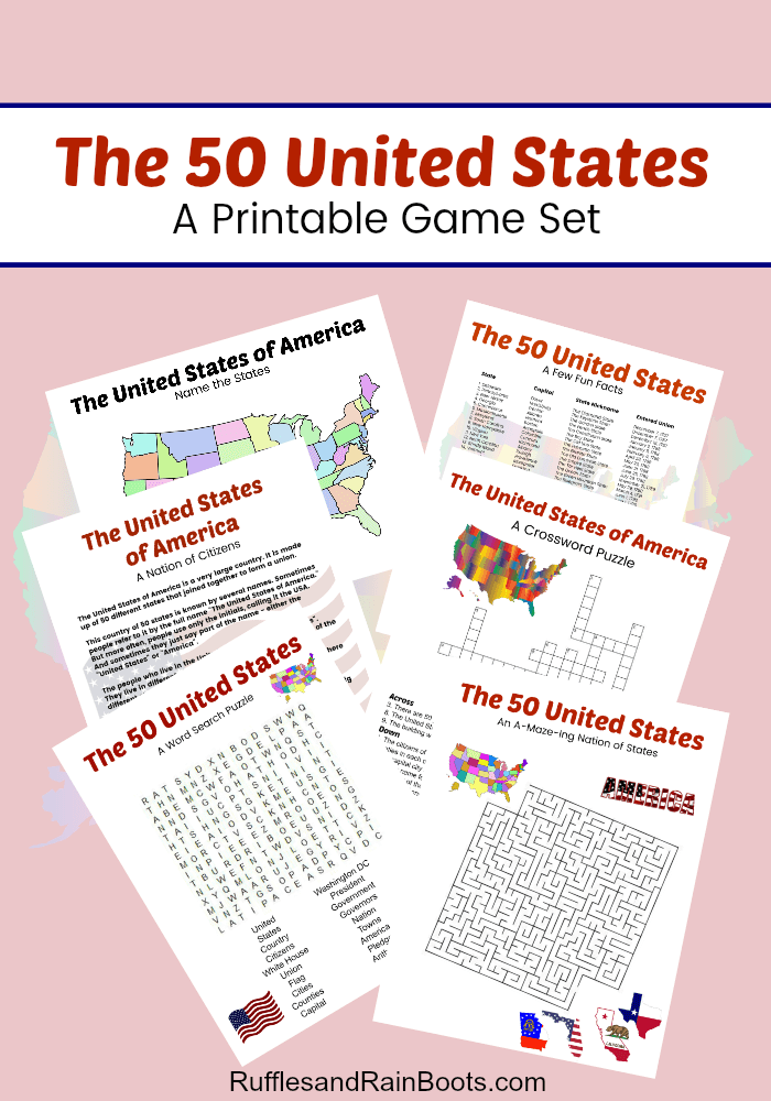 This 50 US State Printable Game Set has everything for a lesson cloaked in fun. From word search to crossword, state trivia to maps, this is a great set for a road trip. #pinitforlater #printable #freeprintable #ustrivia #statetrivia #usstatemap #USstatepuzzle #rufflesandrainboots