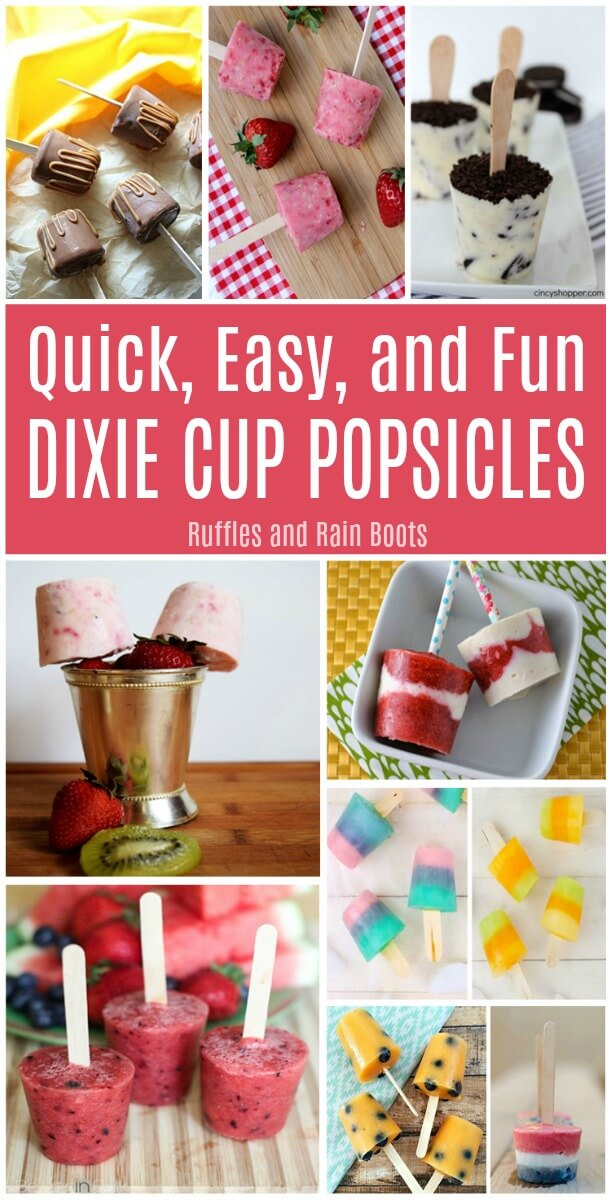 Make these quick, fun, and easy Dixie cup popsicle recipes. Get the kids in the kitchen and choose fruity or chocolaty - they are ALL amazing. #pinitforlater #Dixiecup #popsicles #summer #popsiclerecipes #Dixiecuppops #popsiclecups #fruitpops #chocolatepops #rufflesandrainboots