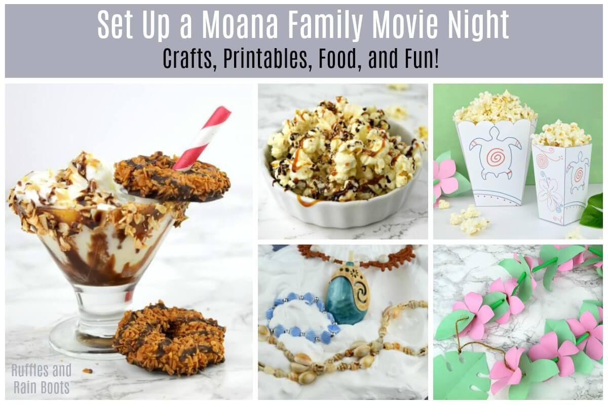 Moana Family Movie Night Free Printable Popcorn Recipe Moana Milkshake
