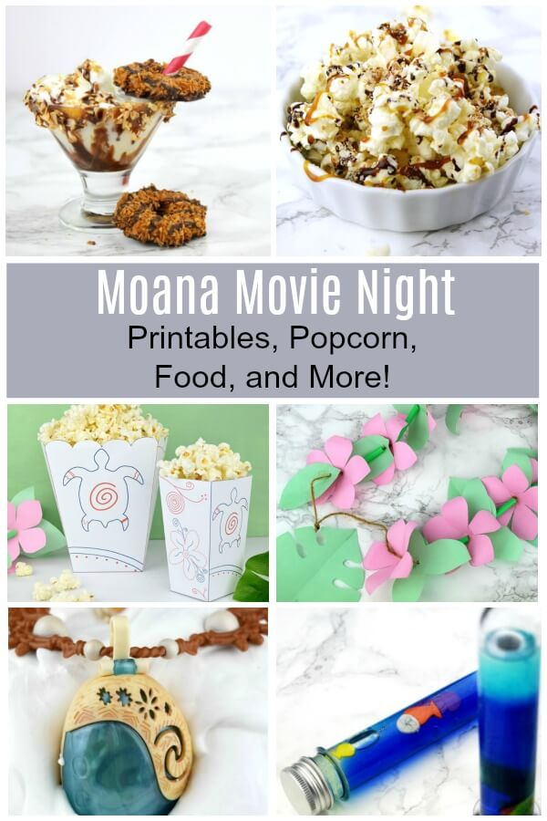 Moana Family Movie Night - Printables, Food, Crafts, and Fun - Set up a fun Moana themed movie night. #moana #movienight #familymovienight #moanaparty #moanaideas #moanapartyideas #disneyprincess #princessmoana #princess #Disneymovienight #Disneycrafts #rufflesandrainboots