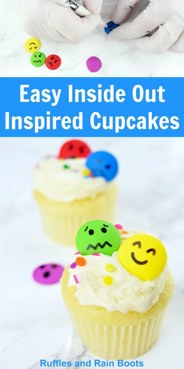 You will never decorate easier cupcakes than these Inside Out cupcakes. We made them for an Inside Out family movie night and the kids loved them. #pinitforlater #cupcakes #cupcakedecorating #cupcakes #insideout #movienight #familymovie #familymovienight #rufflesandrainboots