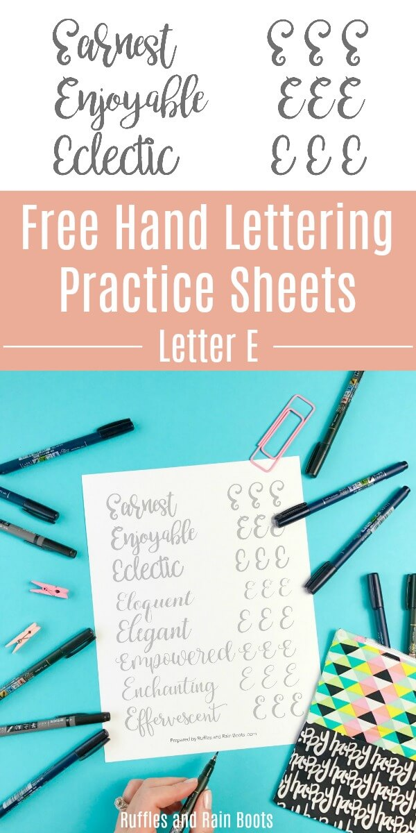 Download this set of free letter E hand lettering practice sheets. Brush, bounce, and modern calligraphy are all included. #pinitforlater #brushlettering #bouncelettering #moderncalligraphy #letteringpractice #handlettering #handletteringpractice #freepracticesheets #rufflesandrainboots