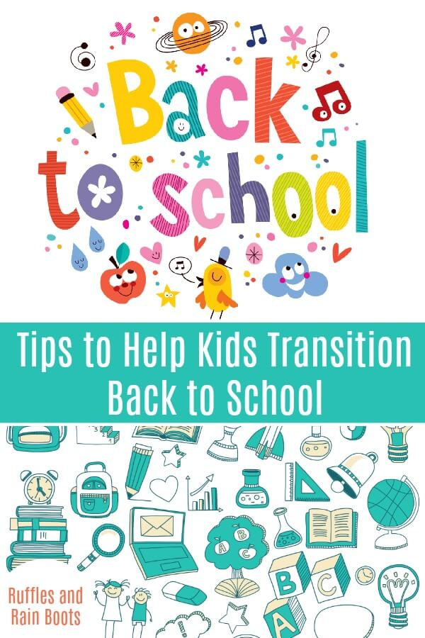 These back to school tips for kids will make it easier for kids to transition from summer to school. #pinitforlater #backtoschool #firstdayofschool #startingschool #school #endofsummer #rufflesandrainboots