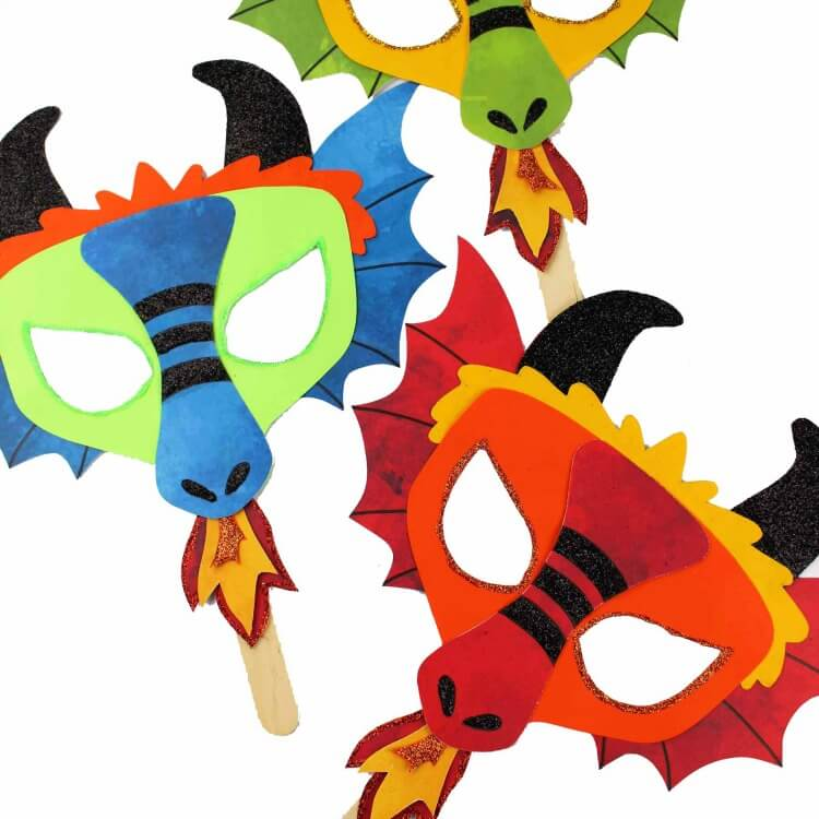 Printable Dragon Mask – Coloring Page and Template