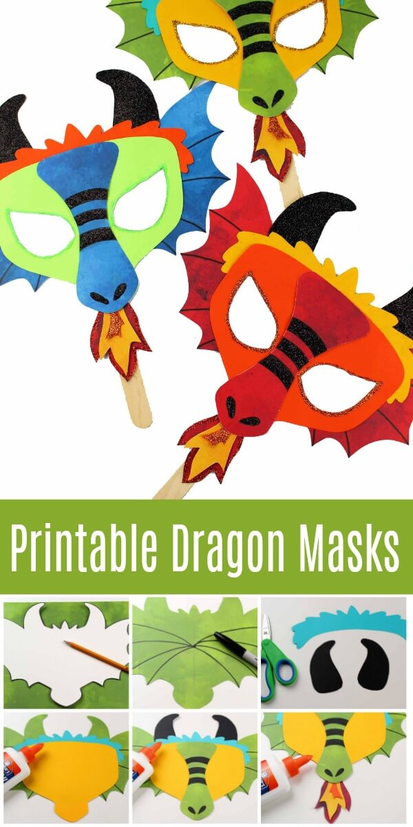 This printable dragon mask and coloring page will have any dragon lover smiling. From a DIY dragon mask for Halloween to a fun-loving movie night, this will be a hit! #dragon #mask #DIYmask #dragoncrafts #dragonlover #masks #paperpuppet #papermask #paperdragon #howtotrainyourdragon #rufflesandrainboots