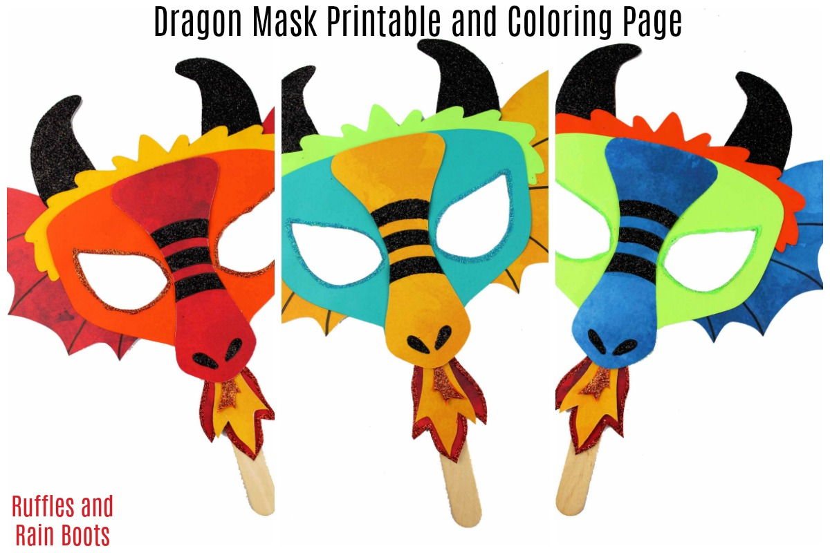 DIY Dragon Mask Printable and Coloring Page