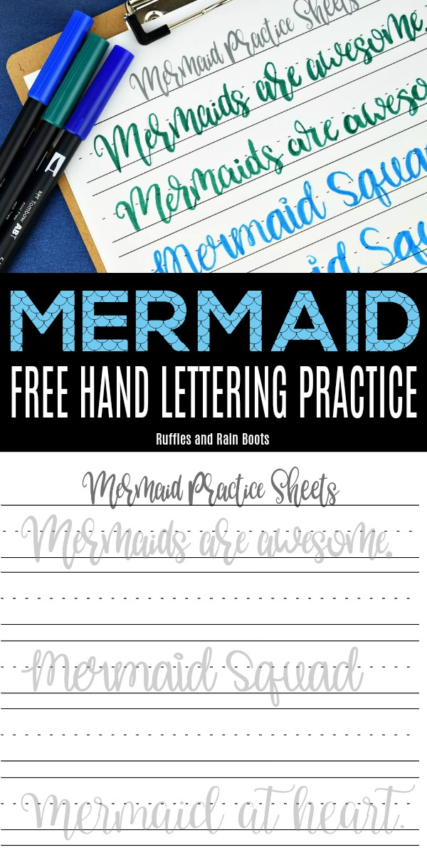 Print off this free mermaid hand lettering practice to work on large pen brush lettering and bounce lettering. #mermaids #handlettering #handletteringpractice #practicesheets #letteringart #letterart #mermaidlettering #mermaidpractice #rufflesandrainboots