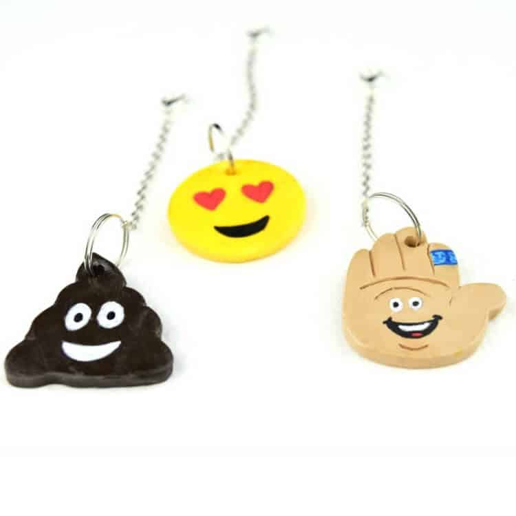 DIY Polymer Clay Emoji Backpack Tags