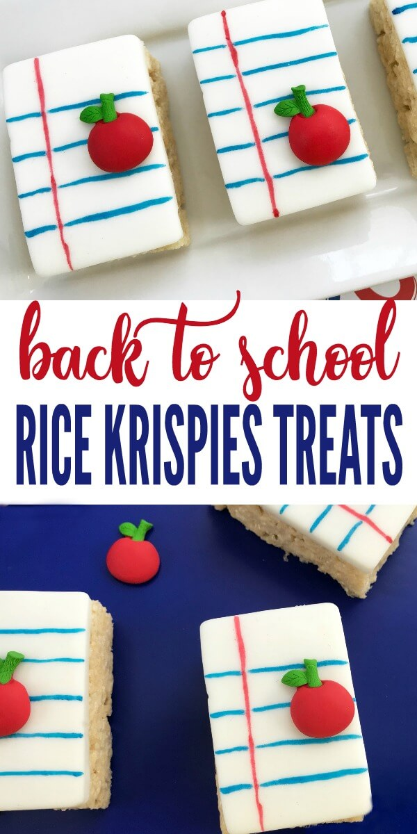 These notebook paper Rice Krispies Treats will WOW everyone! They are so easy to put together, just bring the kids in the kitchen for this fun project. #backtoschool #teacherappreciation #schooltreats #schooltreatideas #ricekrispiestreats #rufflesandrainboots