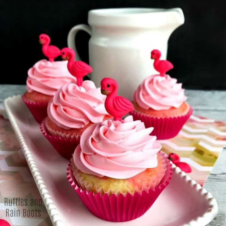 Homemade Flamingo Cupcakes with Swirl Batter