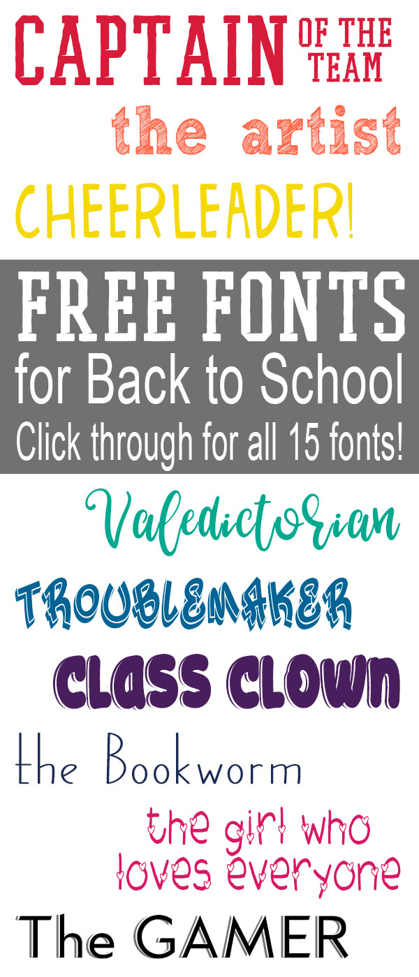Get these free back to school fonts - there's one for every student and teacher! Commercial use and fun, these will take back to school to a new level. #backtoschool #freefonts #fonts #diybacktoschool #teachers #crafting #digitalcrafting #cuttingmachines #rufflesandrainboots