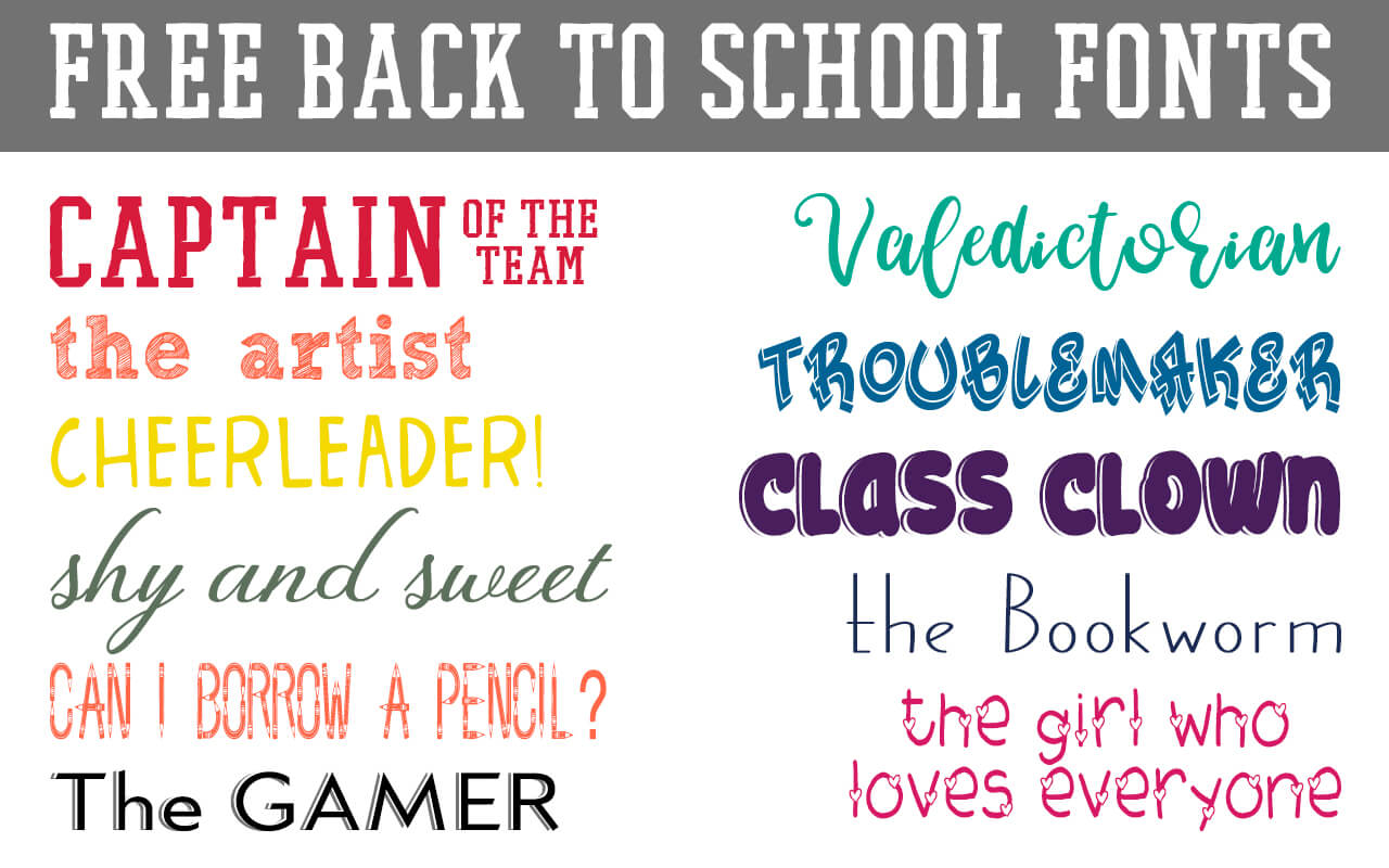 Download these free back to school fonts for crafts and cutting machines. #freefonts #digitalcrafting #backtoschool #school #teachers #crafters #rufflesandrainboots