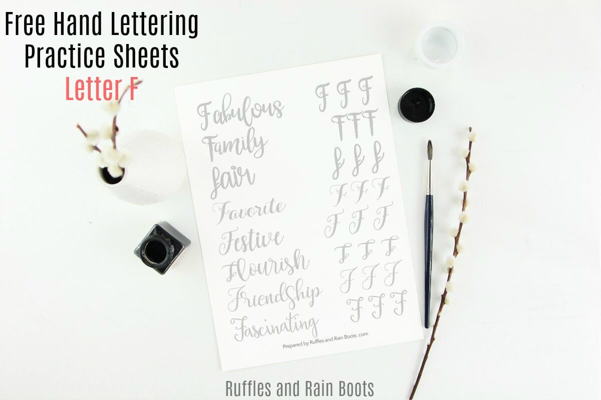 Free Letter F Hand Lettering Practice Sheets - Small Pen, Large Pen