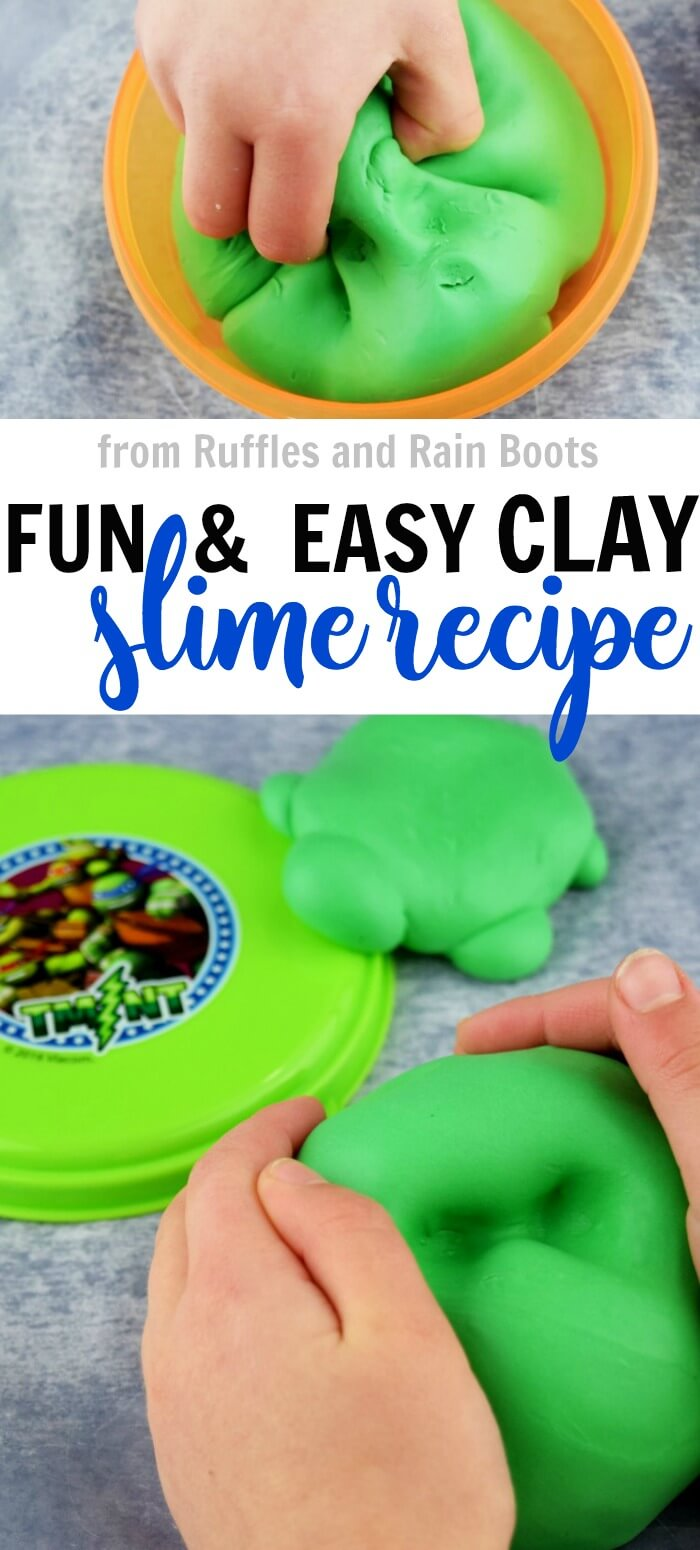 This fun butter slime recipe uses clay to form a shape-holding slime kids love! #slime #slimerecipes #slimerecipesforkids #contactsolutionslime #modelmagic #modelmagiccrafts #claycraftsforkids #rufflesandrainboots