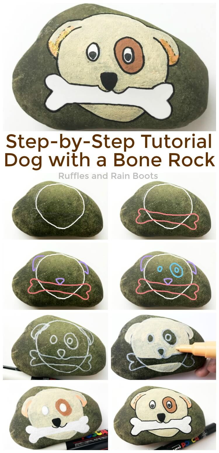 Learn how to paint this fun dog rock painting idea for beginners. Follow the step-by-step tutorial to make an adorable puppy rock. #pinitforlater #rockpainting #howtodraw #dogrockpainting #posca #uniposca #howtopaint #rockpaintingtutorial #rufflesandrainboots