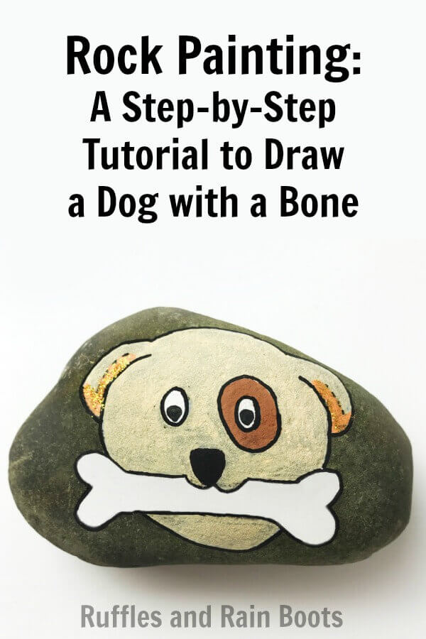 Learn how to paint this fun dog rock painting idea for beginners. Follow the step-by-step tutorial to make an adorable puppy rock. #rockpainting #howtodraw #dogrockpainting #posca #uniposca #howtopaint #rockpaintingtutorial #rufflesandrainboots